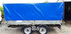 10 x 5.5 Twin Axle Trailer with Mesh Sides, Fitted Tarpaulin 3500kg new tyres