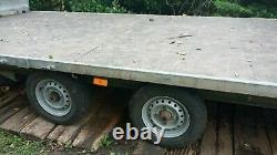 17FT. Twin axle flatbed trailer. Indespension. Sold as spares or repair
