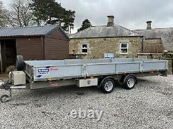 2017 IFOR WILLIAMS LM186 TWIN AXLE FLAT BED TRAILER. NEW SIDES & 8ft STEEL SKIDS