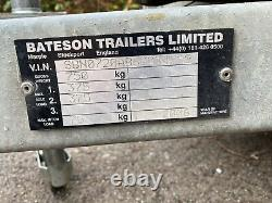 BATESON 720 Twin Axle Unbraked Trailer, used 7ft x 4ft, all sides removeable
