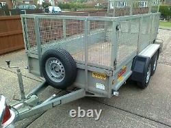 Bateson twin axle, braked trailer 3m x 1.5m 10ft x 5 ft mesh sides+tailgate ramp