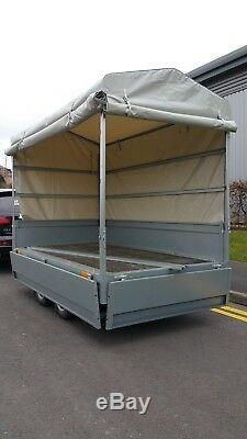 Brand New Drop Sides Car Trailer 8,7ftx 4,7ft Twin Axle 1300kg + Canvas Cover
