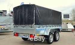 CAR BOX TRAILER 9x4 TWIN AXLE UNBRAKED MGW 750KG AL-KO DOUBLE AXLE