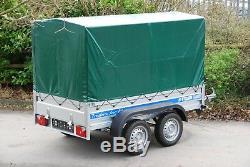CAR TRAILER 3,05mX1,5m TWIN AXLE UNBRAKED 750KG AL-KO BOX TRAILER HIGH COVER 1,8