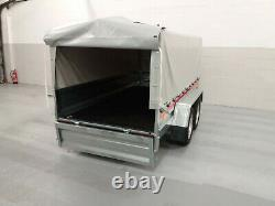 CAR TRAILER 8,7ft x 4,1ft TWIN AXLE CANVAS COVER BOX TRAILER 750KG BRAND NEW