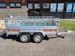 CAR TRAILER BRAND NEW TWIN AXLE 8'7 x 4'1 750 kg CAGED SIDES
