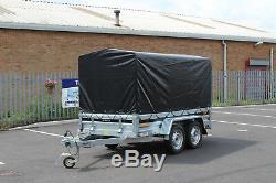 CAR TRAILER TWIN AXLE CANVAS COVER 110cm BLACK 263cm x 125cm unbraked 750kg 9X4