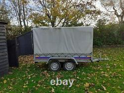 CAR TRAILER TWIN AXLE canvas cover H x 263cm W x 125cmL unbraked 750kg