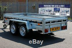 CAR TRAILER twin axle 263x125cm UNBRAKED 750kg 8.8x4.2ft