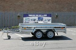 CAR TRAILER twin axle 263x125cm UNBRAKED 750kg 8.8x4.2ft FLAT COVER CANVAS RED