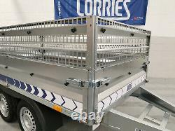 Car Trailer Twin Axle 2,61 m x 1,38 m (8'7 x 4'6) 750 kg CAGED SIDES