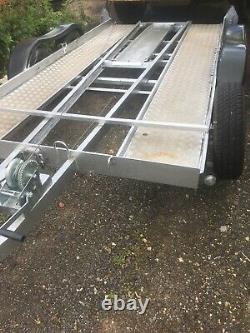 Car Transporter Trailer twin axle with winch, ramps, spare wheel