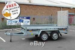 Car trailer 263cm x 125cm twin axle MARTZ 8.8 x 4.2 ft 750kg + ramp tailgate