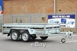 Car trailer MARTZ twin axle 263cm x 125cm 8.8 x 4.2 750kg Blue cover 110 cm