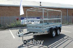 Car trailer SOLIDUS twin axle 263cm x 125cm 8.8FT x 4.2 750kg GREY cover 80cm