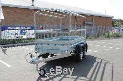Car trailer SOLIDUS twin axle 263cmx125cm 8.8FTx4.2 750kg BLUE cover Canopy