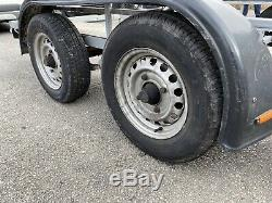 Car trailer/transporter, twin axle, loading ramps, recently refurbished