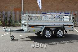 Car trailer twin axle MARTZ 8.8 x 4.2 ft 750kg + mesh caged cage 263cm x 125cm