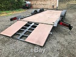 Car transporter trailer/Plant trailer, Braked, Twin axle, Winch, 3000kg