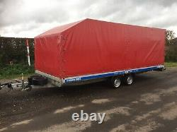Covered Car Trailer / Transporter 3.5T Twin Axle. Extra Wide 6.2m Long Flatbed