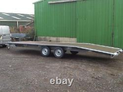 Flat bed Beaver tail Trailer Transporter 3500kg twin axle, with loading ramps