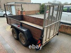 Independent 2.5t, twin axle trailer, 50mm ball hitch with braking, 10ft x 4ft