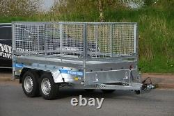 NEW CAR TRAILER 3m x 1,5m TWIN AXLE WITH MESH SIDES CAGE 800MM BRAKED 2700KG NEW