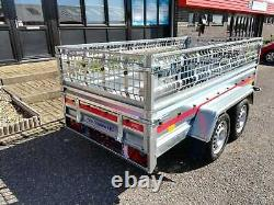 NEW CAR TRAILER BRAND NEW TWIN AXLE 8'7 x 4'1 750 kg CAGED SIDES