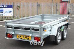 NEW Car trailer MARTZ twin axle 263cm x 125cm 8.8FTx4.2 750kg GREEN cover 110 cm