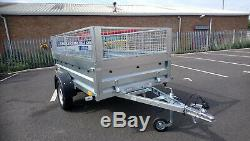 NEW Car trailer twin axle 7'9x4'3 750kg tipping tipper NEPTUN mesh cage
