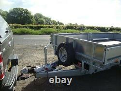 NEW NUGENT 12ft x 6ft TWIN AXLE 3500Kg FLAT BED TRAILER C/w SIDE BOARDS + VAT