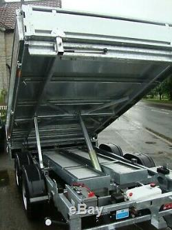 NEW NUGENT T2517S 8ft x 5ft TWIN AXLE TIPPING TRAILER C/w LADDER RACK + VAT