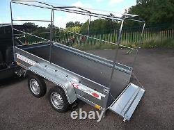 NEW Trailer Box Small Camping Car 9FT x 4FT TWIN AXLE 2,70 x 1,32 m+150cm CANOPY