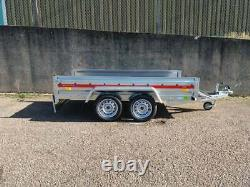 New Car Trailer 263 x 125cm Unbraked 750kg Twin Axle 8,7 FT x 4,1 FT