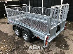 New Wessex WG105 10ft X 5ft Cage Sides Twin Axle Goods Trailer & Ramp Tailgate