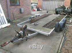 TWIN AXLE CAR TRANSPORTER TRAILER 14ft x 6ft Bed c/w winch, ramps and spare wheel