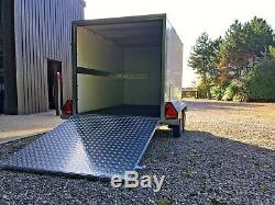 Tickners Box Trailer 8'x5'x5' with ramp, spare wheel & rear stands. Twin axle