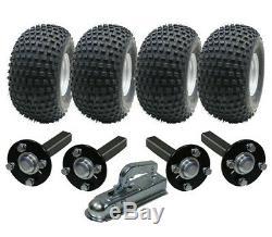 Twin axle ATV trailer kit Quad trailer 4 wheels + four hub / stub + hitch