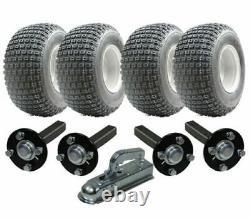 Twin axle ATV trailer kit Quad trailer 4 wheels + hub / stub + hitch, 400kgs