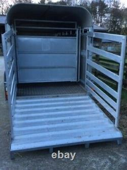 USED GRAHAM EDWARDS 14ft x 5ft 8 TWIN AXLE CATTLE TRAILER, DEFLECTOR GATE +VAT