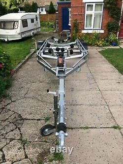 Unbraked twin axle boat trailer suitable for boat up to approx 6M