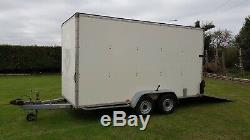 14ft Blue Line Double Essieu De Remorquage A Van Box Remorque Porte Rampe Blueline 3500 KG