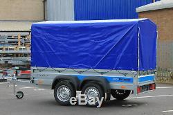 263cmx125cm 8.8ftx4.2 Remorque Voiture 750 KG Oblique Essieu Double Couvercle Bleu Canopy