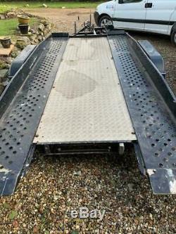 Brenderup Double Essieu Tilt Car Transporter Flat Remorque 13ft X 6 Pi