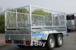 Cage Voiture Mesh Remorque 10x5 À Vendre Double Essieu 2.7t Ridelles Hautes Remorques Freinées