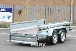 Car Twin Trailer Axle Couverture 110cm Noir Toile 263cm X 125cm Sans Frein 9x4 750 KG