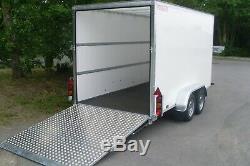 Énorme Wessex Wvt126t 12ft X 6pi Double Essieu Van Box Trailer & Ramp Tailgate Inc Tva