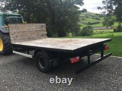 Flatbed Bale Trailer 14' X 8' Twin Wheel Single Axle