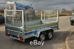 Haute Cage Remorque Voiture 10ft X 5 Ft Double Essieu Cage Avec 1300 KG Freinée, Mesh