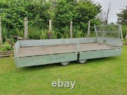 Meredith & Eyre Twin Axle Flat Bed Trailer 16ft 3500kg Côtés Ramps Winch Ifor